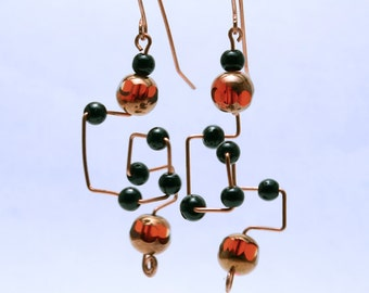 Copper & Bead Abstract Earrings