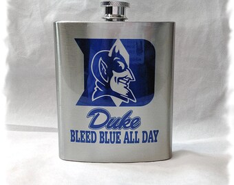 "Duke University Blue Devils ""Bleed Blue all Day"" 7 ounce Flask _ Stainless Steel"
