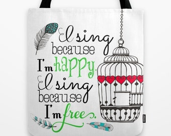 Music Tote, Music Tote Bag, Christian tote, Sheet Music Tote, I sing because Im happy, I sing because Im free, Birdcage, sparrow, feathers