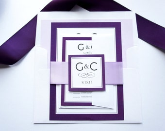 Purple Monogram Wedding Invitation, Purple Wedding Invitations, Purple Invitations, Wedding Invites, Monogram - Deposit