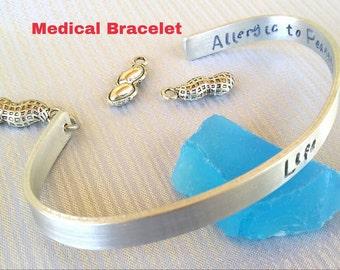 Peanut Allergy Bracelet, Allergy Bracelet, Medical Bracelet, Medical Alert, Silver Cuff, Statement Bracelet