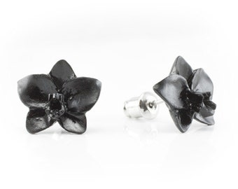 "Hand Carved - ""Black Orchid"" - Wood Stud Earring - Urban Flowers"