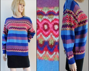 Vtg womans colourful jumper sweater retro 60s hand knitted French sweater jumper pullover size medium