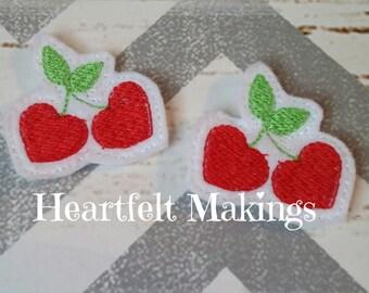 Red cherry hearts feltie