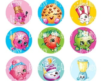 1 inch circles of Shopkins Bottle Cap images, Instant Download