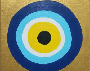 Blue Evil Eye, 6x6 Abstract Painting