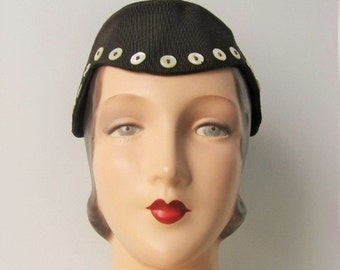 SALE! 1930's Mahogany Brown Aviatrix Style Demi-Cloche Hat