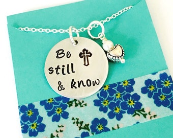 Be still and know Necklace, Cross Necklace, Be Still Necklace