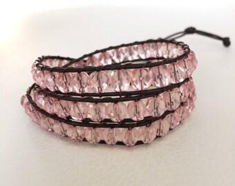 Pink wrap bracelet, translucent pink wrap bracelet