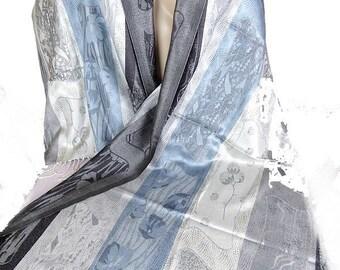 SHAWL SILK WOMAN black blue gray stole stole shawl chic boho silk shawl scarf aps2