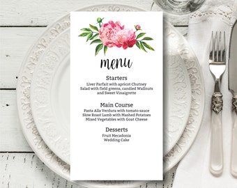 Printable Wedding Menu Template, DIY Wedding Menu, Floral Wedding Menu, Simple and elegant menu, pink peonies menu, esitable menu