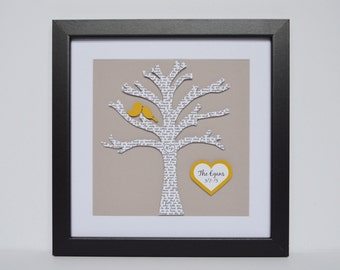 Wedding Gift for Couple- Newlywed Gift, Engagement Gift, Tree with Lyrics, Unique Gifts, Valentine Day Gift, Unique Wall Art, Gift for Bride