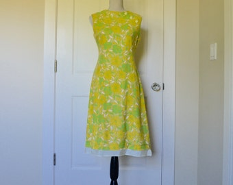 Retro Yellow and Green Floral Shift Dress