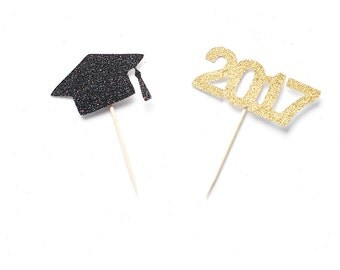 Graduation Cupcake Toppers - ANY COLOR - Glitter- Class of 2017 Graduation Party - Cap