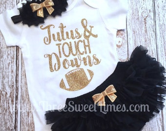 Football Baby Girl Outfit | Tutus And Touchdowns | Tutu Bloomers | Opt Headband Tutu Ruffle Bloomer Set | Football Outfit | Foot Ball Sister