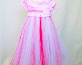 Pink Parfait of color white,fuchsia,light pink, crochet bodice and tulle dress, holiday party, birthday,wedding she will be pretty in pink