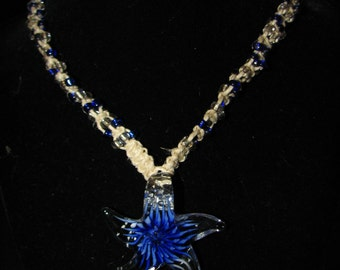 Hemp Necklace With Blue Glass Starfish Pendant