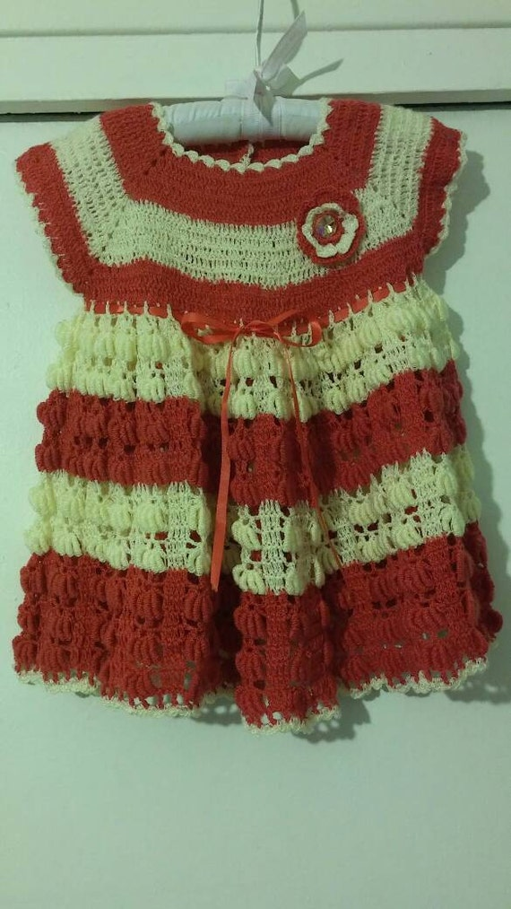 Coral and Beige crocheted baby girl dress