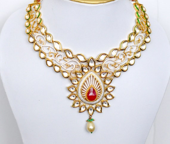 Meenakari Kundan bridal necklace set with ruby, emerald and cubic zirconia stones | Indian wedding Jewelry | Indian bridal jewelry