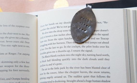"Hand Stamped Spoon Bookmark- ""Fell Asleep here"""