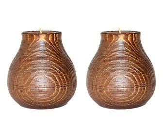 Candle Holder set of 2 Siberian Cedar Wood TEA LIGHT HOLDER Handcrafted #P20