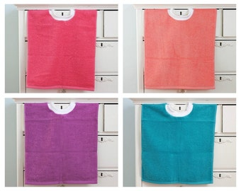 Terry Cloth Pullover Bibs Set of 4, Large Toddler Bibs, New Spring Colors