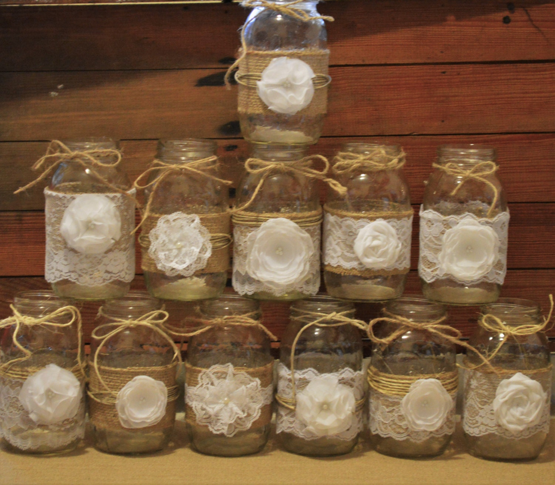 Rustic Jars For Wedding: NEW 12 Mason Jar Sleeves Wedding Centerpieces Rustic