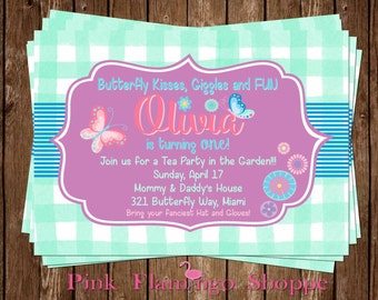 Flowers & Butterflies Themed Invitation