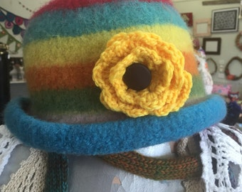 Rainbow Felted Cloche Festival Hat