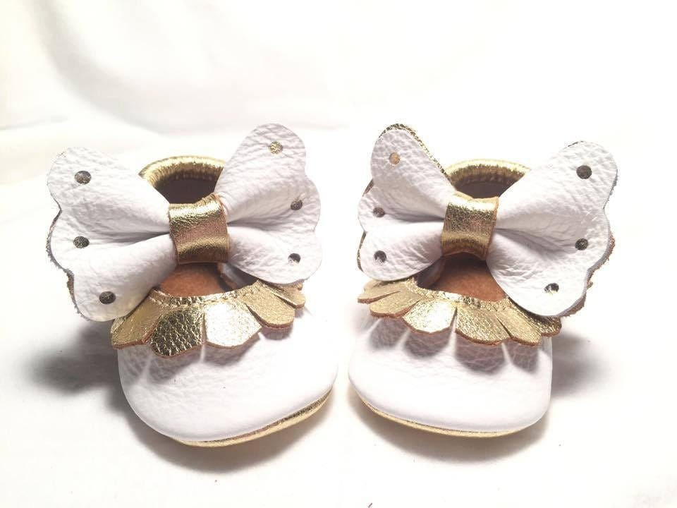 Baby Angel Genuine Leather Baby Bow Mary Janes Shoes