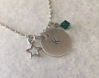 Star necklace, Personalized handstamped necklace, hand stamped necklace, swarovski crystal necklace, initial necklace, pendant necklace