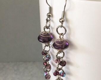 Purple bead earrings, purple dangle earrings, purple drop earrings, purple earrings, beaded earrings
