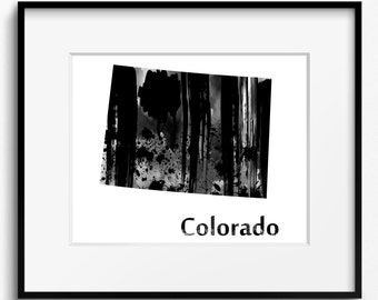 Colorado State Map Watercolor Black and White Art Print (785) Centennial State United States