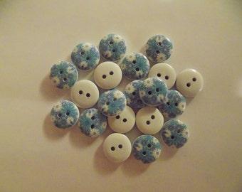 20 Mixed Little Blue Flower Buttons - #WS-00039