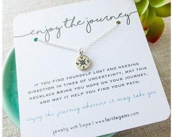 Compass Necklace, Enjoy the Journey Necklace, Stelrin Silver, Inspirational Fertility Necklace