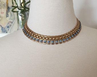 Vintage Art Deco Brass & Blue Rhinestone Necklace