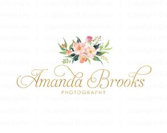 Floral logo premade logo design gold logo photography logo elegant logo design boutique logo graphic design