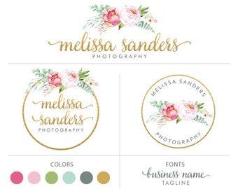 Floral logo design gold logo premade logo package photography logo branding package flower logo round logo marketing kit