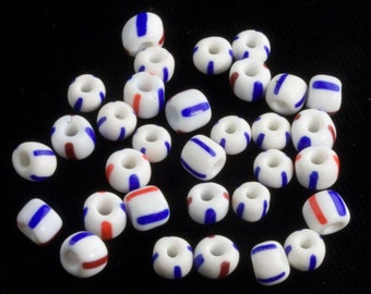Group of 66 striped vintage trade beads.5X6mm. b19-402(e)