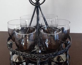 Mid Century Smokey Glass Set of 6 with Carousel  silver stem & bottom brandy alcohol bar ware