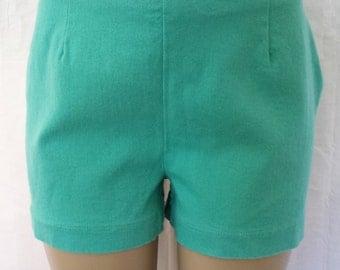 Vintage 1990's Moda International High Waist Turquoise Jean Denim Shorts  stretch sz 14  today's 9-11