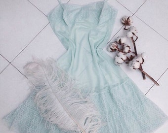 Vintage dressing gown in color Tiffany