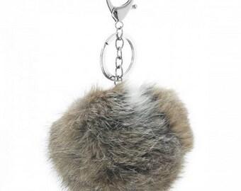 Fur keychain/bag hanger brown/grey