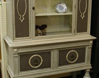 Paris grey ornate china cabinet
