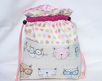 """Doudou bag, bag Tote everything for girl, lingerie bag, bag slippers re-entry of Classes """"Cats with glasses"""""""