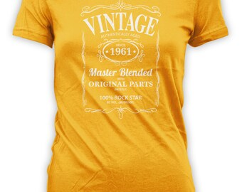 Vintage Whiskey Label Birthday Shirt Born 1961 - Celebrating 55th Birthday, Gifts for Him, Gifts for Grandpa, Gifts for Dad Bourbon CT-1050