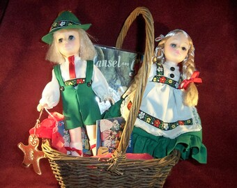Hansel and Gretel Collector's Gift Basket with Hansel and Gretel Effanbee Dolls and Vintage Little Golden Book Illustrated by Eloise Wilkin
