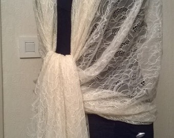 Great stole wedding lace ecru color