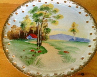 Norleans Hand painted and Artist Signed Decorative Wall Hanger Plate