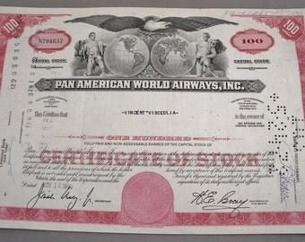 Vintage Pan American World Airways 100 Share Stock Certificate - Pan-Am - Airlines Memorabilia